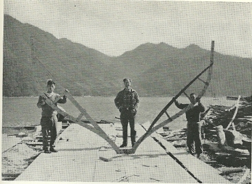 Earle Reynolds at the first stage of the building of his yacht Phoenix in Miyajimaguchi, on the shore of the Inland Sea of Japan.
